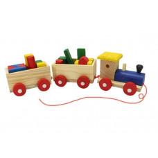 Edukativni drveni vozic sa oblicima
