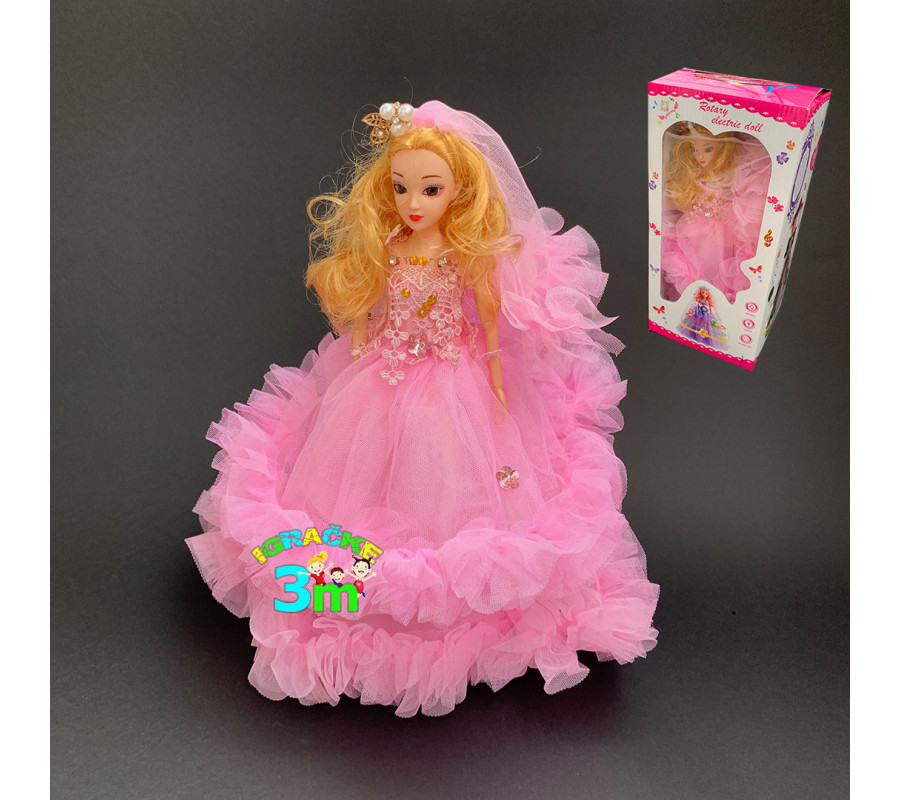 Muzicka lutka sa zglobnim tackama i disko efektima 32cm roze